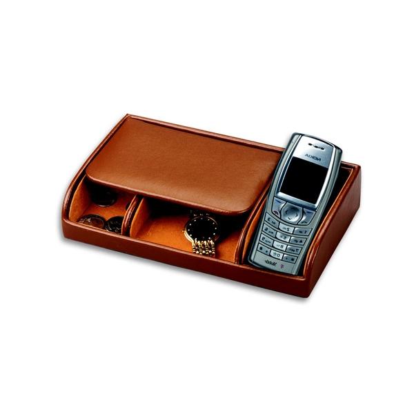 Men's Pigskin Lined Genuine Leather Dresser Valet  w/ Cell Phone Slot
