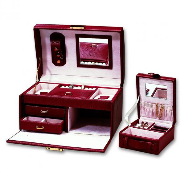 Women's Fine Leather Jewelry Box w/ Top Handle for Travel or Home Use