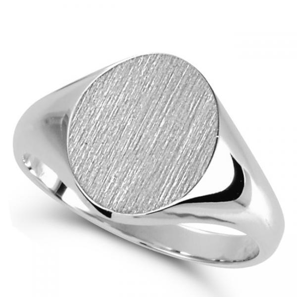 Men's Oval Shaped Signet Ring Engravable 14k White Gold 10x8mm