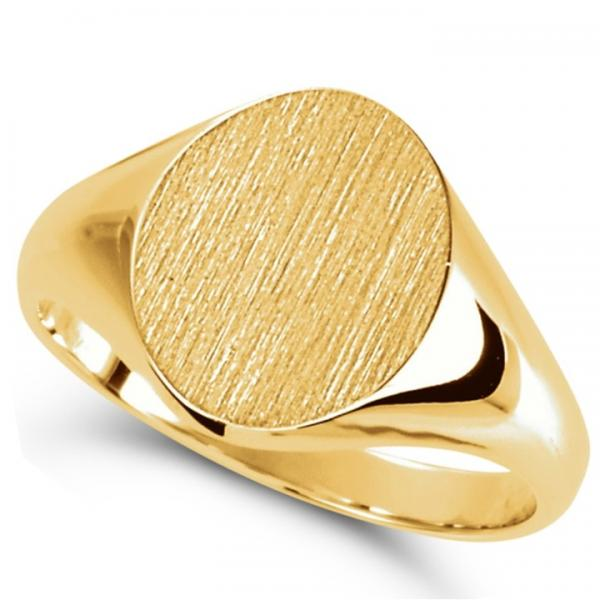 Men's Oval Shaped Signet Ring Engravable 14k Yellow Gold 10x8mm