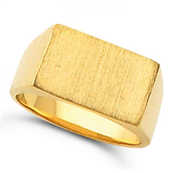 Men's Signet Ring Rectangular Shaped, Engravable in 14k Yellow Gold