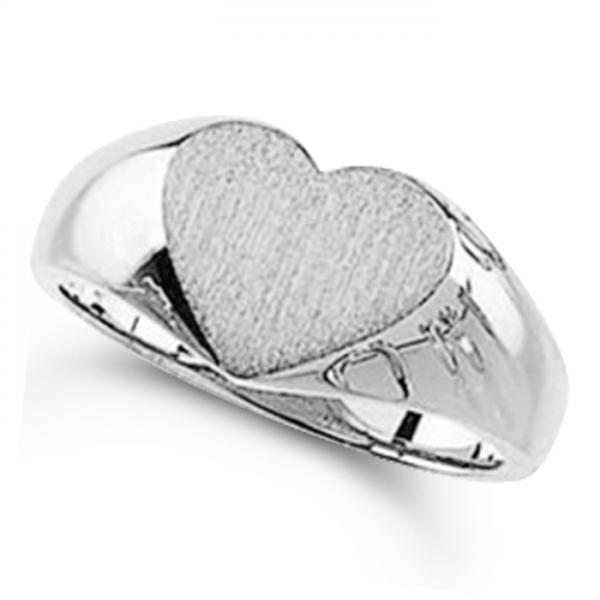Women's Heart Shaped Signet Ring, Engravable, Polished 14k White Gold