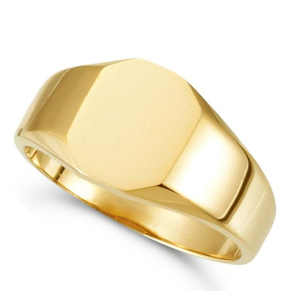 Customizable Signet Ring w/ Octagon Shape Top 14k Yellow Gold 11x9mm