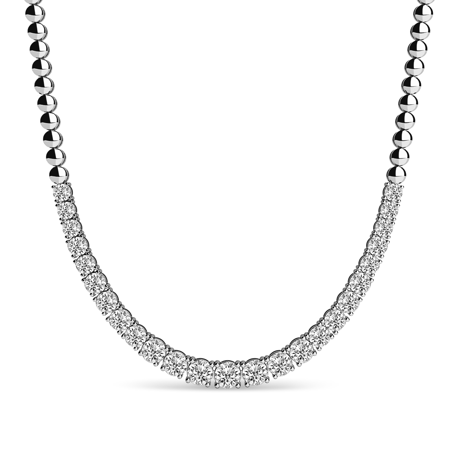 Diamond Graduated Tennis Necklace 14k White Gold (3.00ct)