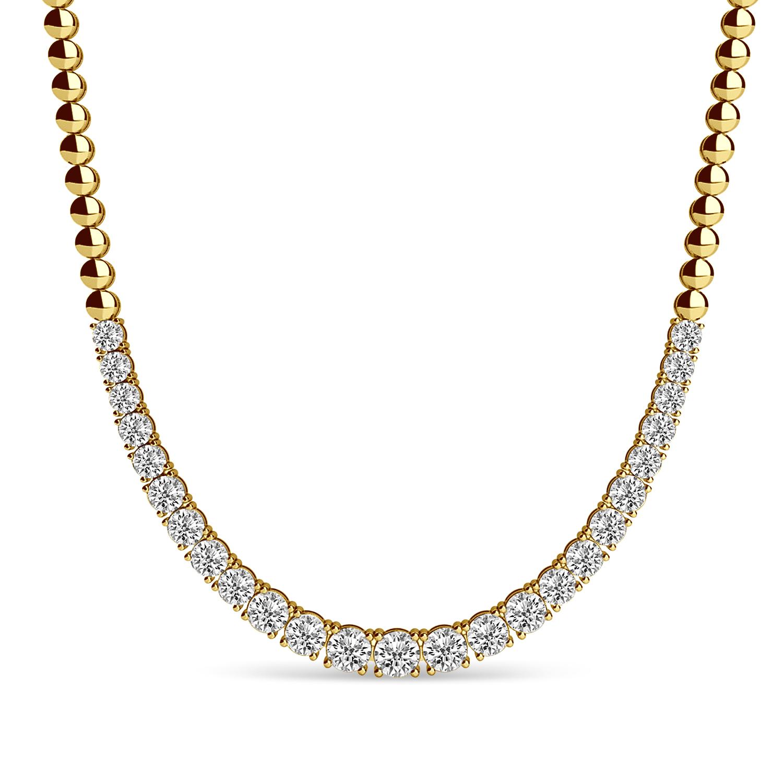 Lab Grown Diamond Graduated Tennis Necklace 14k Yellow Gold (3.00ct)