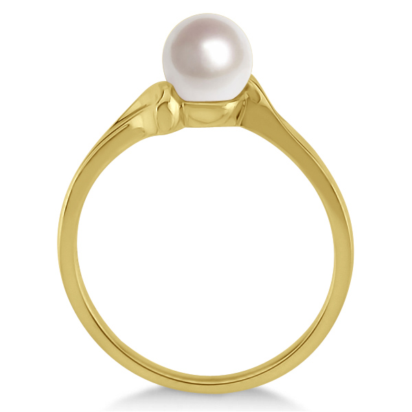 Solitaire Bypass Akoya Cultured Pearl Ring 14k Yellow Gold (5.50mm)