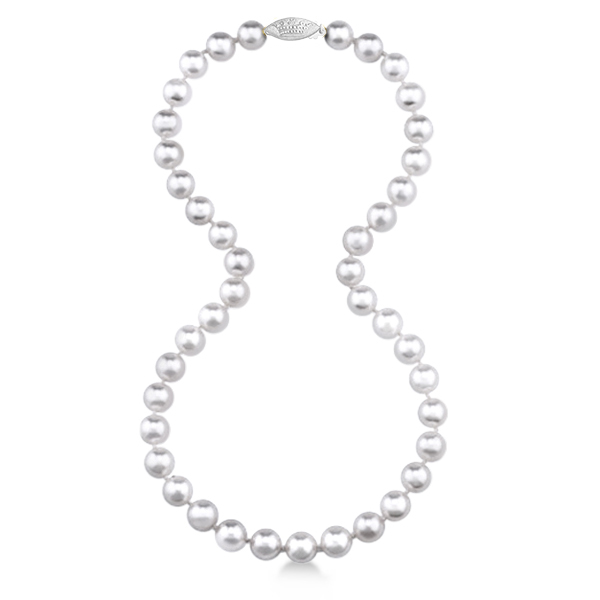 18 inch Akoya Pearl Strand Necklace Cultured 14k Gold Clasp 6.0-6.5mm