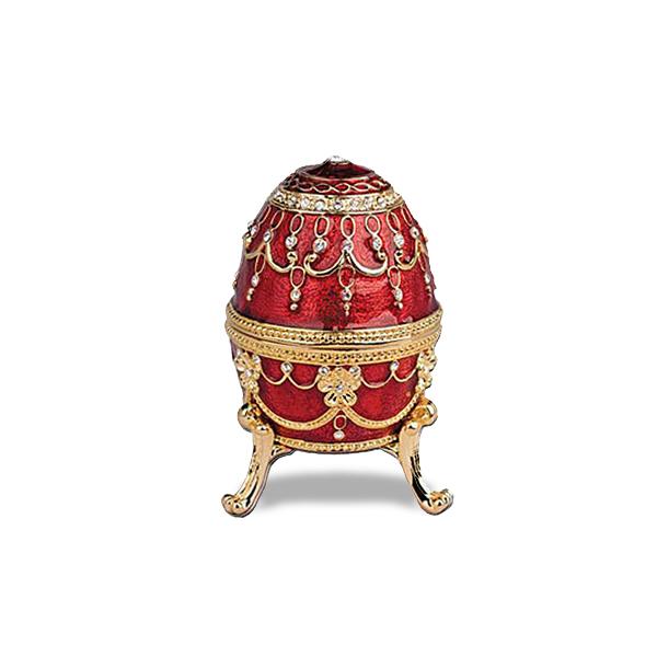 Musical Jeweled Egg Trinket Box w/ Red Enamel & Swarovski Crystals
