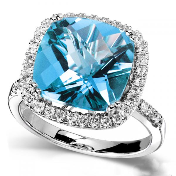 Blue Topaz Gemstone Ring with Diamond Halo 14K White Gold (5.10ct)