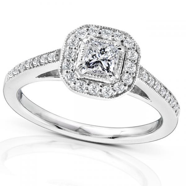 Princess Diamond Engagement Ring w/ Cushion Halo 14K White Gold 0.50ct