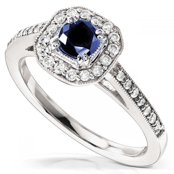 Sapphire and Cushion Diamond Halo Gemstone Ring 14k White Gold 0.88ct