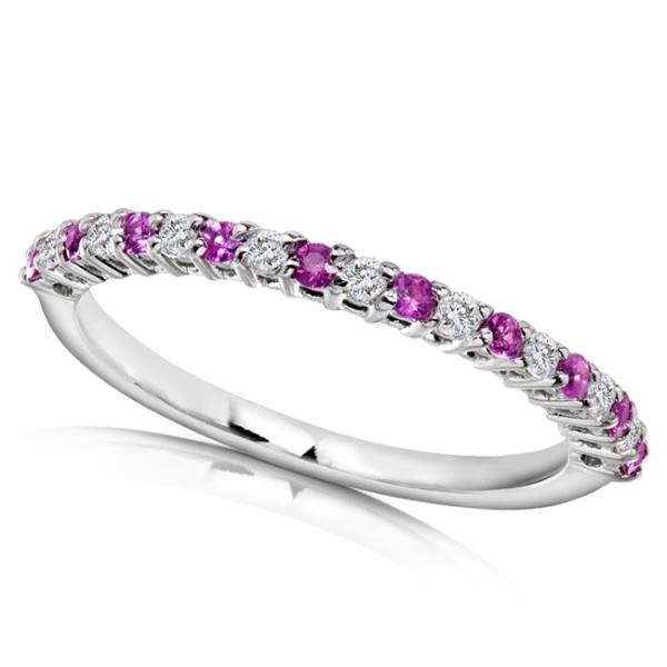 Round Diamond & Pink Sapphire Band in 14kt White Gold (0.25ct)