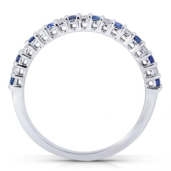 Round Diamond & Blue Sapphire Band in 14kt White Gold (0.25ct)