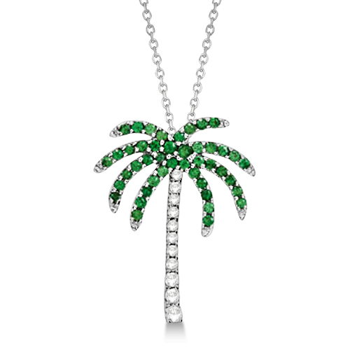 Tsavorite & Diamond Palm Tree Necklace 14k White Gold (0.30ct)