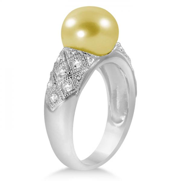 South Sea Golden Pearl & White Topaz Ring Sterling Silver 10-11mm