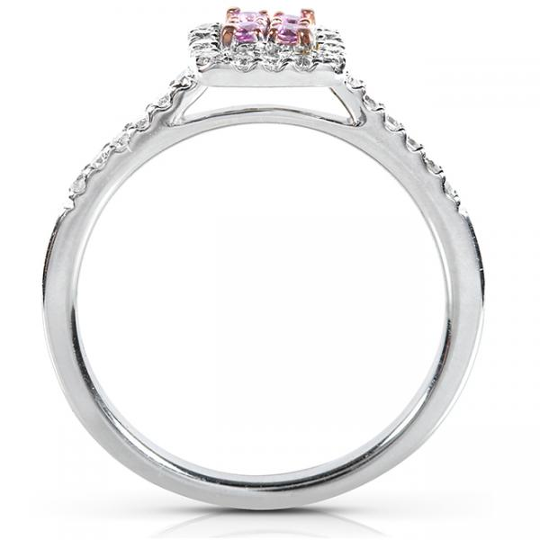 Round Pink Sapphire & Diamond Engagement Ring 14k White Gold (.33ct)