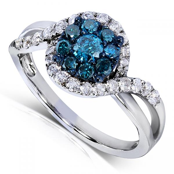 Round Blue Diamond & Double Halo Engagement Ring 14k W. Gold (0.75ct)