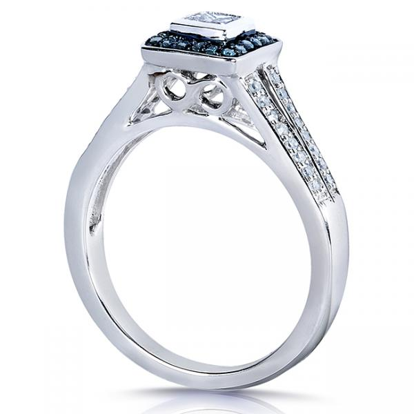Princess Blue & White Diamond Halo Engagement Ring 14k W. Gold 0.50ct
