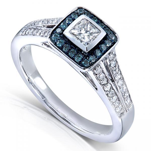 Princess Blue & White Diamond Halo Engagement Ring 14k W. Gold 0.50ct