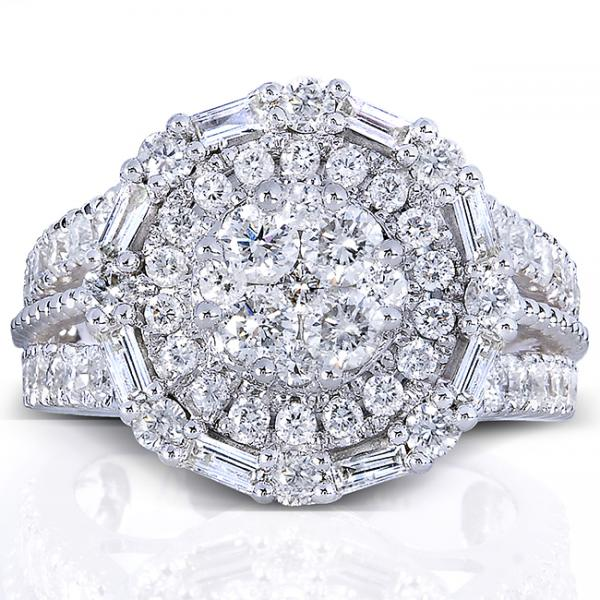 Round Diamond Cluster & Halo Engagement Ring 14k White Gold (1.75ct)