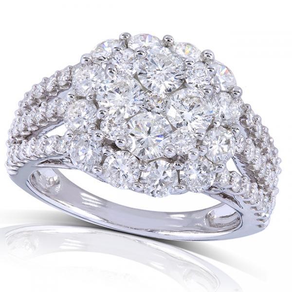 Round Cluster Diamond Engagement Ring w/ Split Shank 14k W. Gold 3.00ct