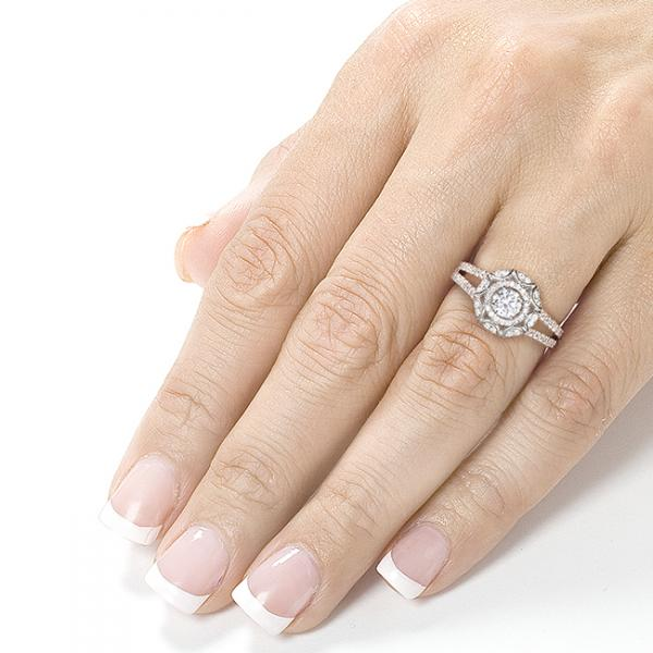 Vintage Style Round Cut Diamond Engagement Ring 14k White Gold 1.00ct