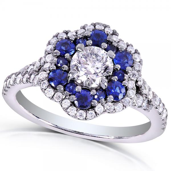 Blue Sapphire & Diamond Floral Fashion Ring 14k White Gold (1.50ct)