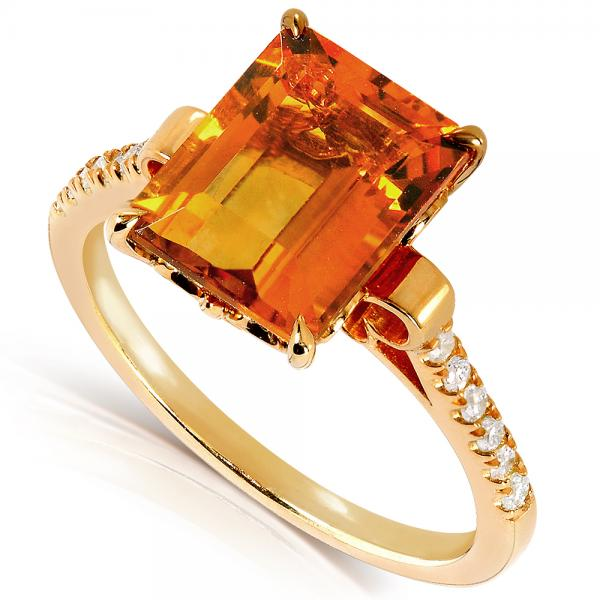 Emerald Cut Citrine Ring 14k Yellow Gold Over Sterling Silver 2.63ct