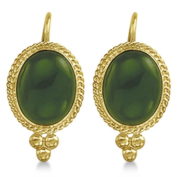 Oval Jade Earrings Bezel Set Lever Backs Antique Style 14k Yellow Gold