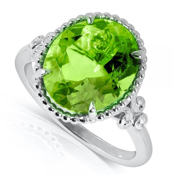 Oval Cut Peridot Gemstone Cocktail Ring 14k Gold Over Silver 4.80ct