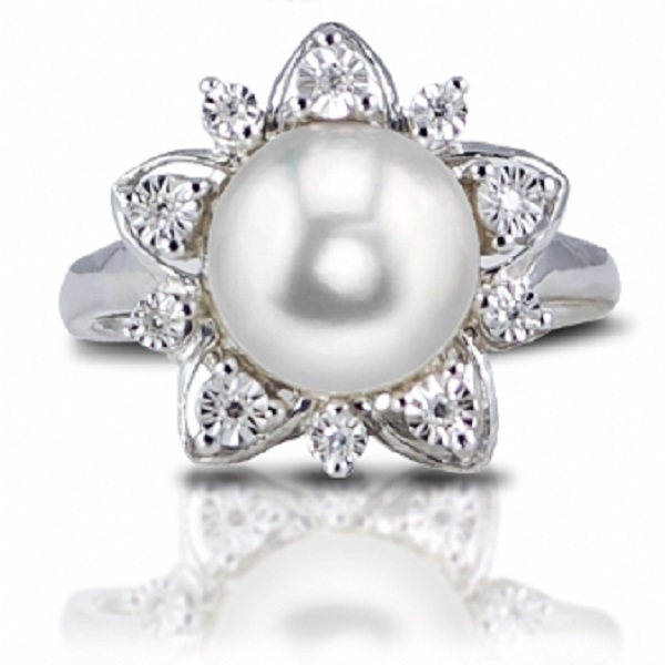 Diamond Accented Freshwater Pearl Flower Ring Sterling Silver 9-9.5mm