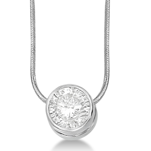 Moissanite Solitaire Pendant Slide Necklace 14K White Gold 1.50ct
