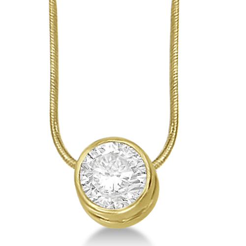 Moissanite Solitaire Pendant Slide Necklace 14K Yellow Gold 1.50ct