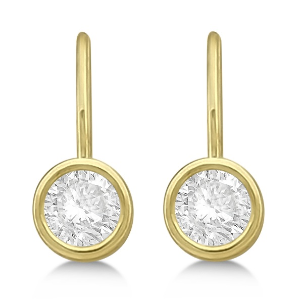 Moissanite Bezel Set Stud Earrings Leverbacks 14K Yellow Gold 1.00ctw