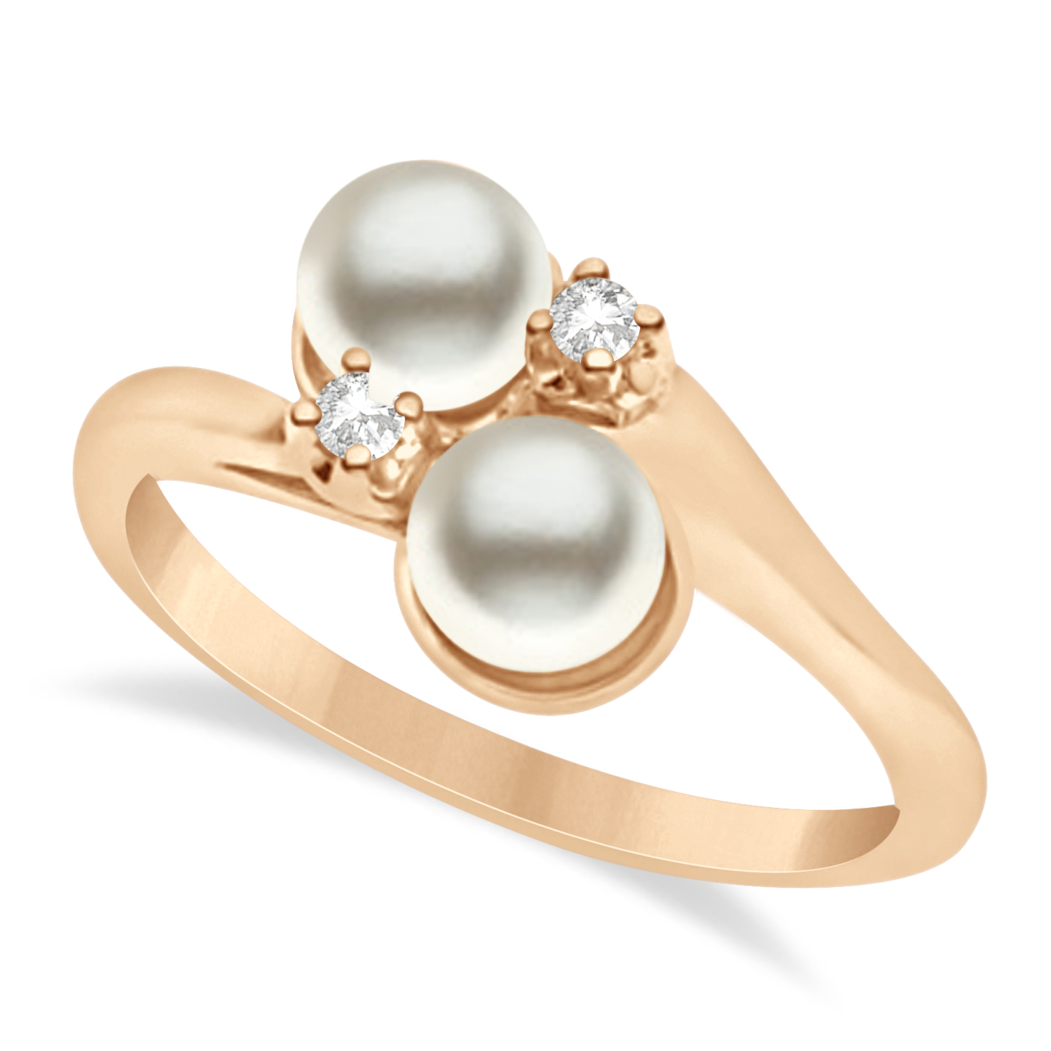 Bypass Freshwater Pearl & Diamond Ring 14k Rose Gold (6.0mm)