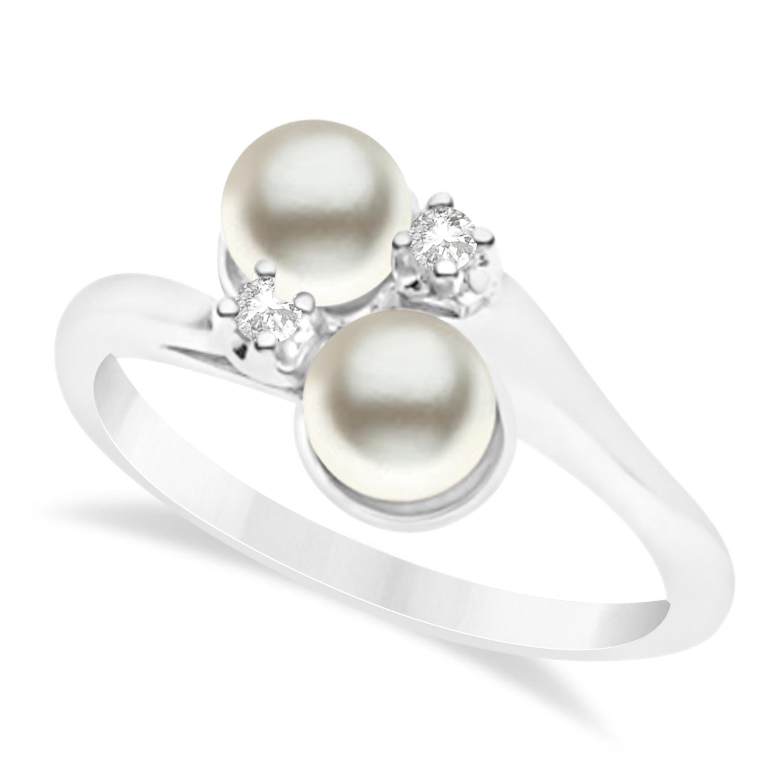 Bypass Freshwater Pearl & Diamond Ring 14k White Gold (6.0mm)