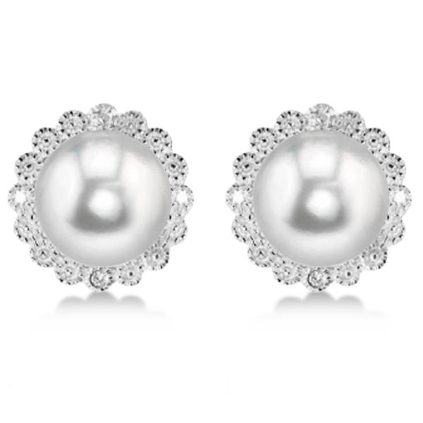 Freshwater Pearl & Diamond Halo Earrings Sterling Silver 8-8.5mm