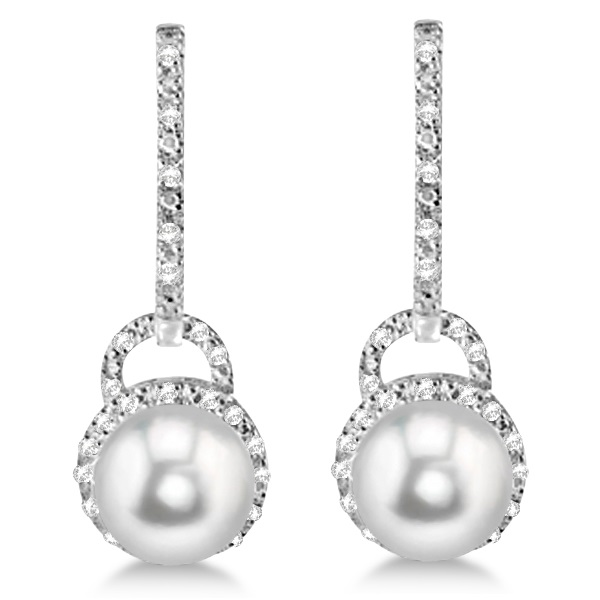 Freshwater Pearl & Diamond Earrings Sterling Silver 9.0-9.5mm 0.10ct