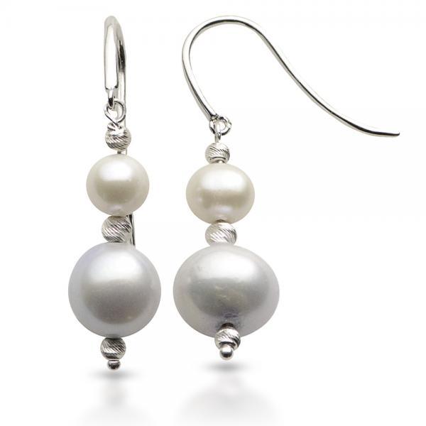 White & Grey Freshwater Pearl Drop Earrings Sterling Silver 6-9.3mm