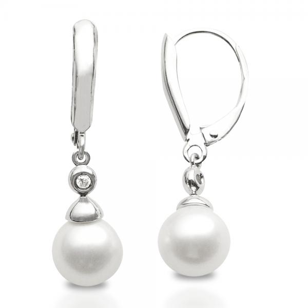 Freshwater Pearl & Bezel Set Diamond Earrings Sterling Silver 8-8.5mm