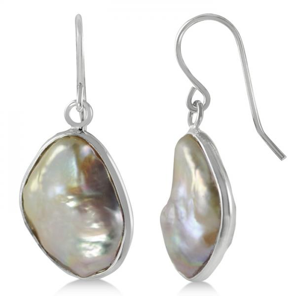 Baroque Freshwater Cultured Pearl Drop Earrings Sterling Silver 18mm