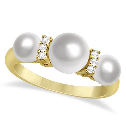 Three Stone Freshwater Pearl & Diamond Ring 14K Yellow Gold 7-7.5m