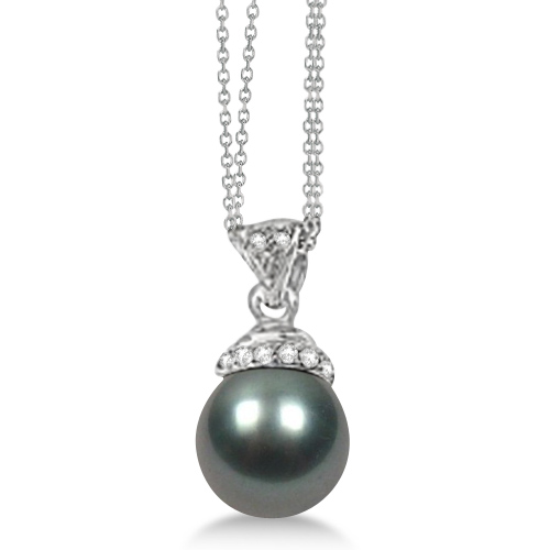 Black Freshwater Cultured  Pearl and Diamond Pendant 0.04ctw (9mm)