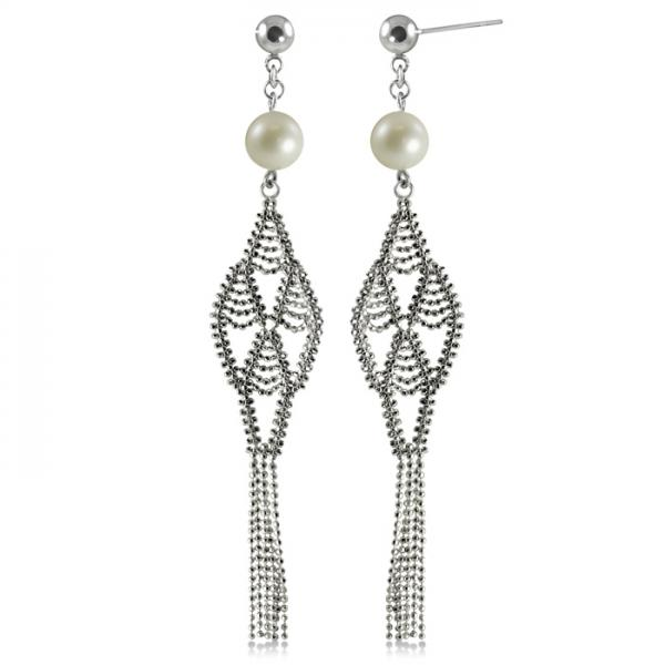 White Freshwater Pearl Dangle Earrings Sterling Silver 8-8.5mm