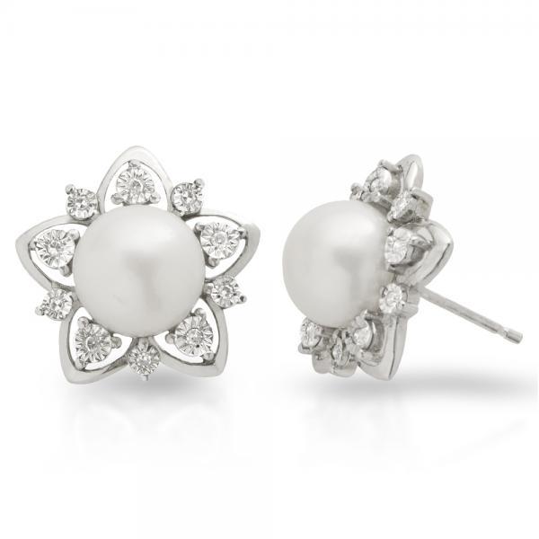 Freshwater Pearl & Diamond Flower Shape Studs Sterling Silver 9-9.5mm