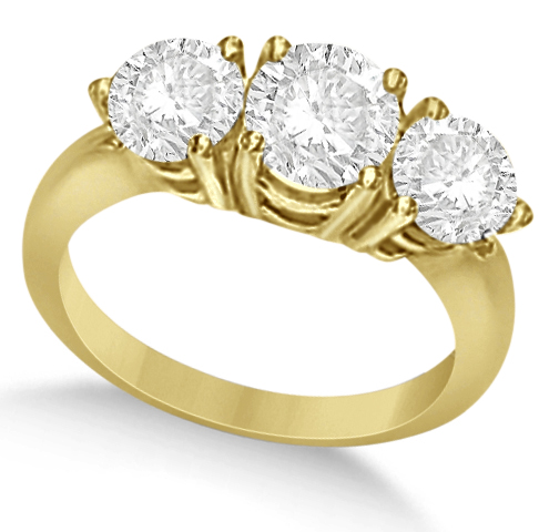 Three Stone Moissanite Engagement Ring 14K Y. Gold 2.87ctw