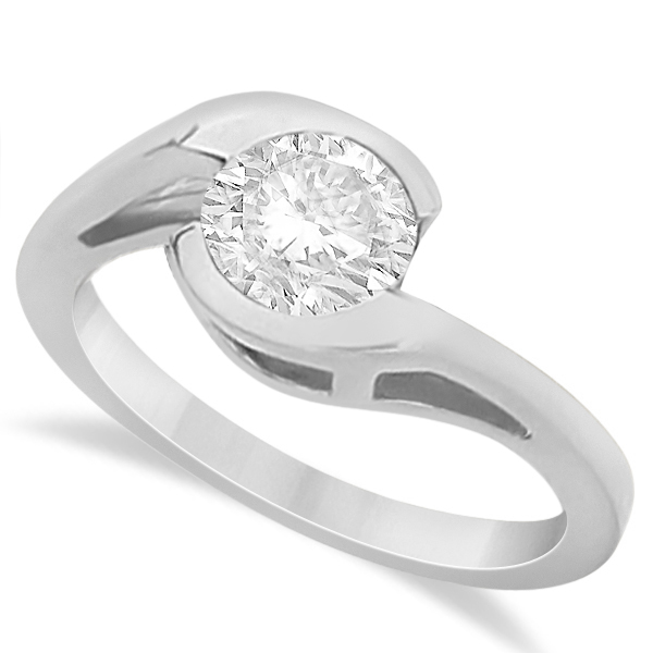 Solitaire Moissanite Bypass Engagement Ring in 14K White Gold 1.00ctw
