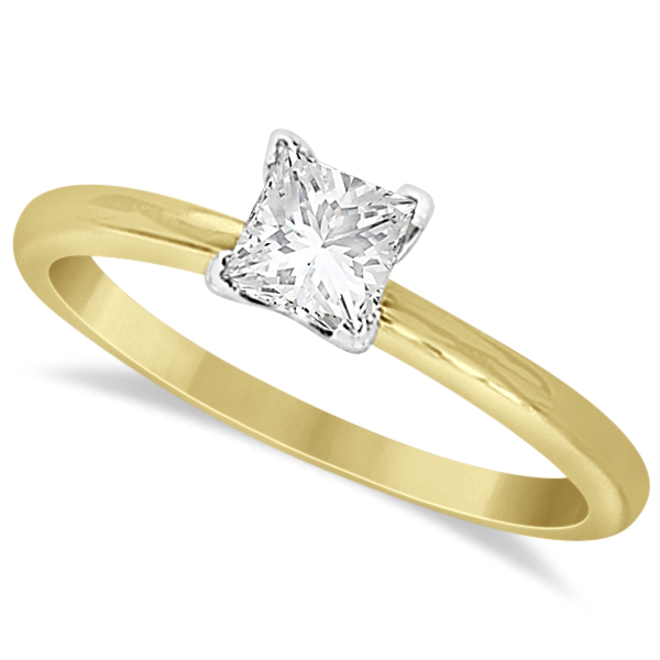 Moissanite Solitaire Engagement Ring Princess Cut 14K Y. Gold 0.75ct