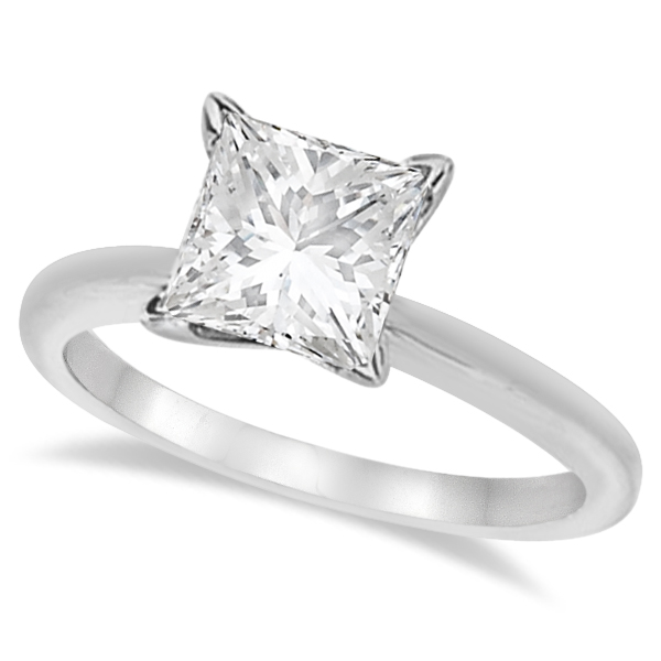Moissanite Solitaire Engagement Ring Princess 14K White Gold 3.00ct
