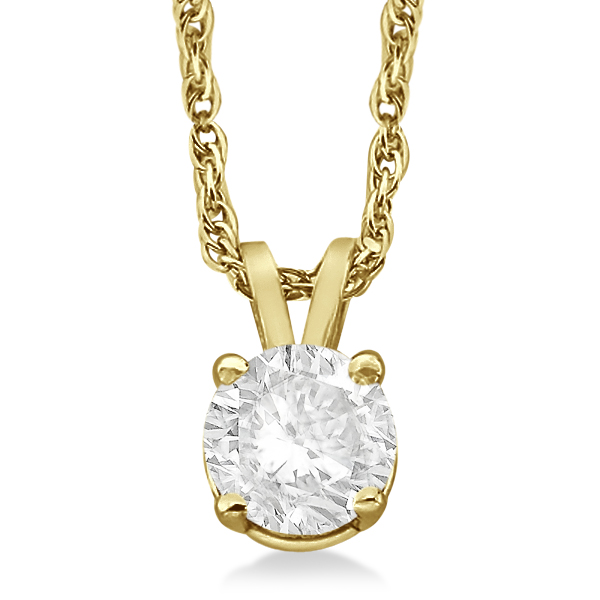 Prong Set Moissanite Solitaire Pendant Necklace 14K Yellow Gold 0.50ct